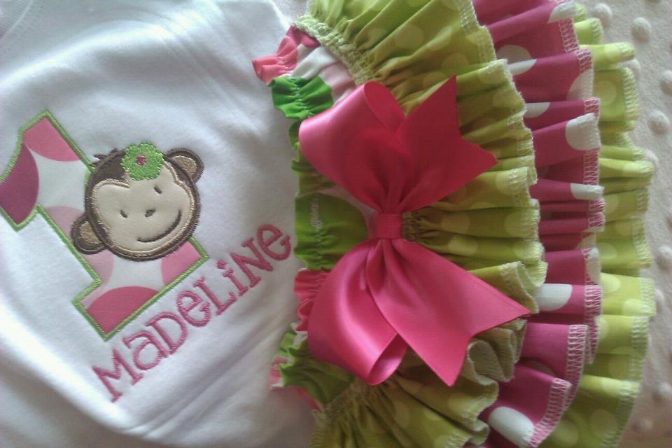 Birthday Monkey Ruffled Set-monkey