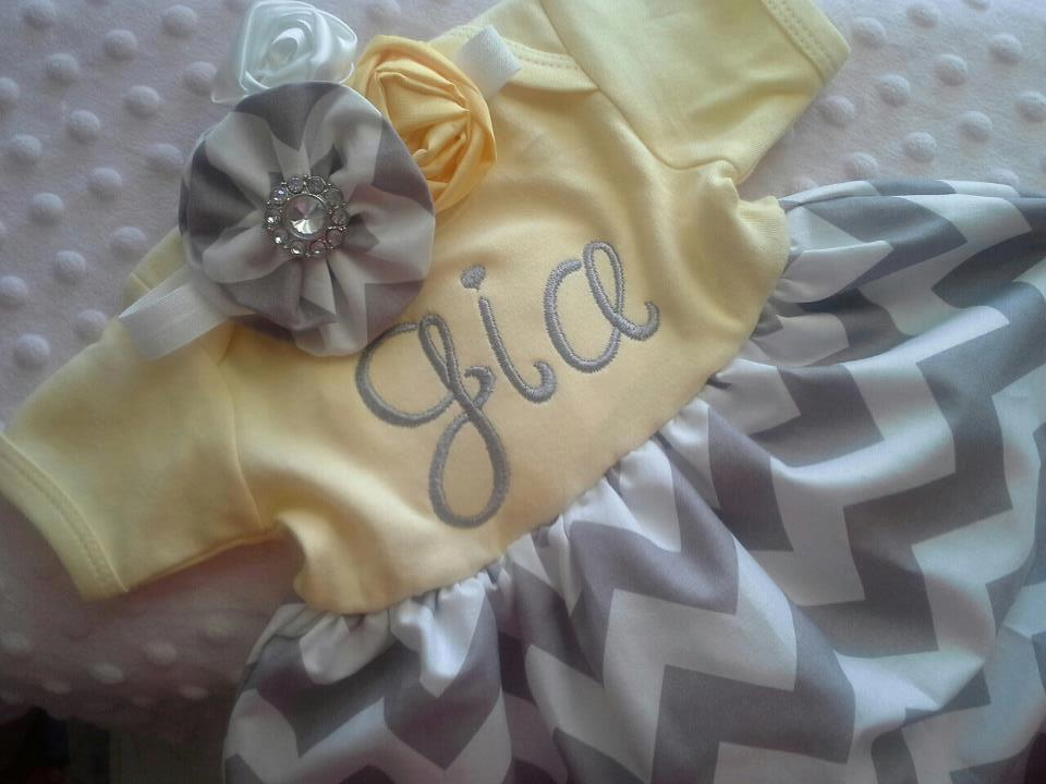 Yellow Chevron Infant Gown-