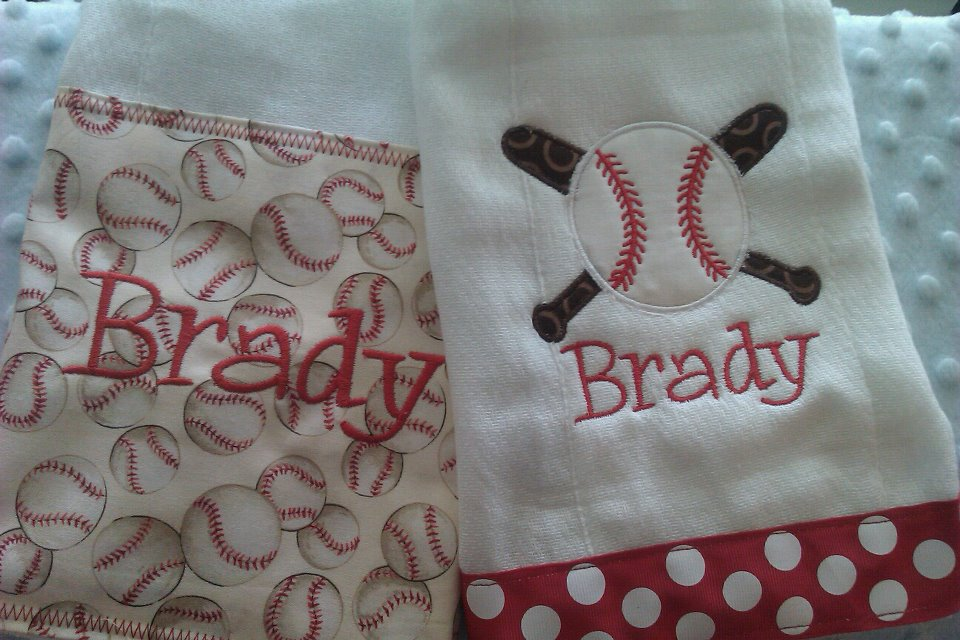 Baseball Burp Cloth Set-