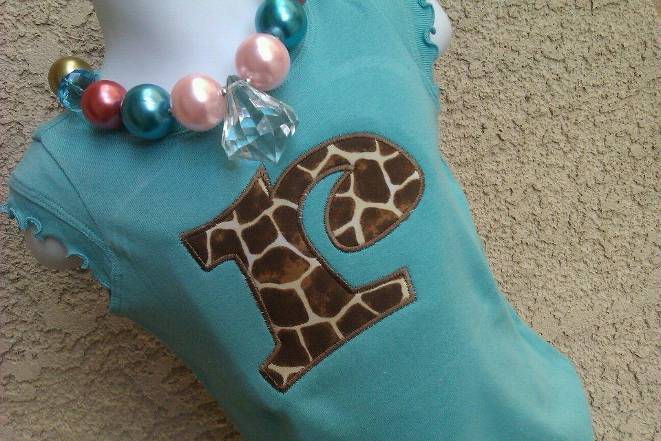 Teal Giraffe Letter Tee-