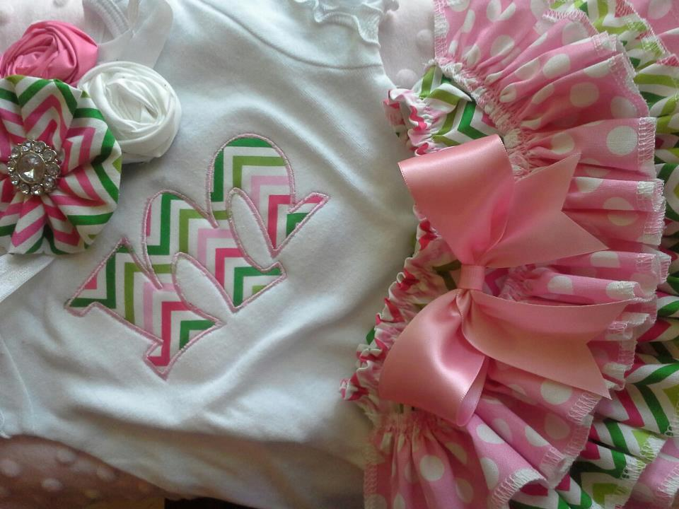 Pink And Lime Chevron Ruffled Bloomer Set-