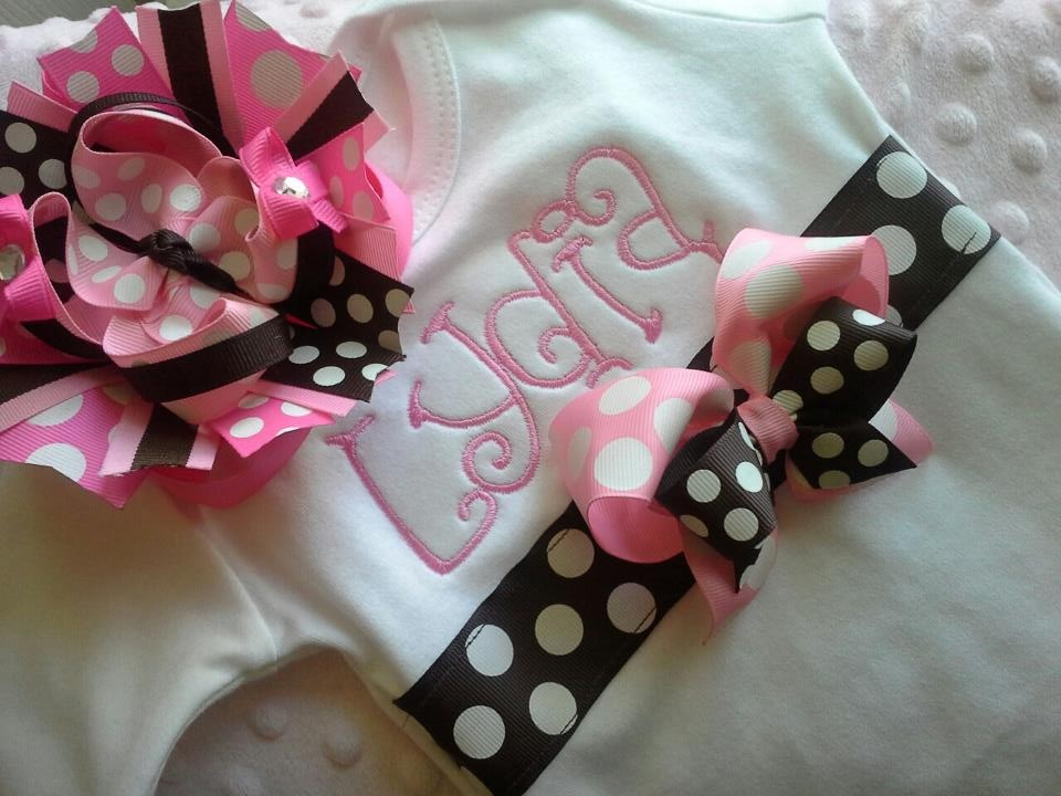 Personalized Pink and Brown Ribbon Gown-gown, bows