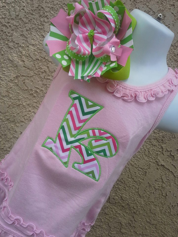 Pink and Lime Chevron Letter Dress-