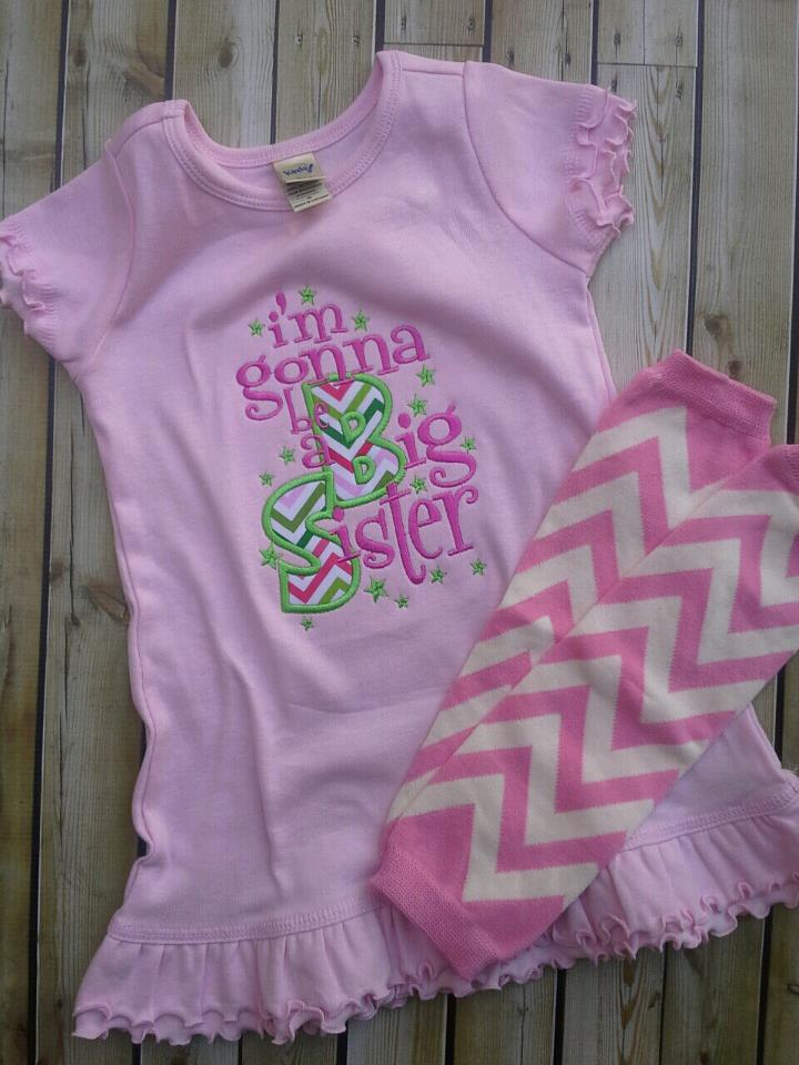 Pink and Lime Chevron Big Sister Dress-