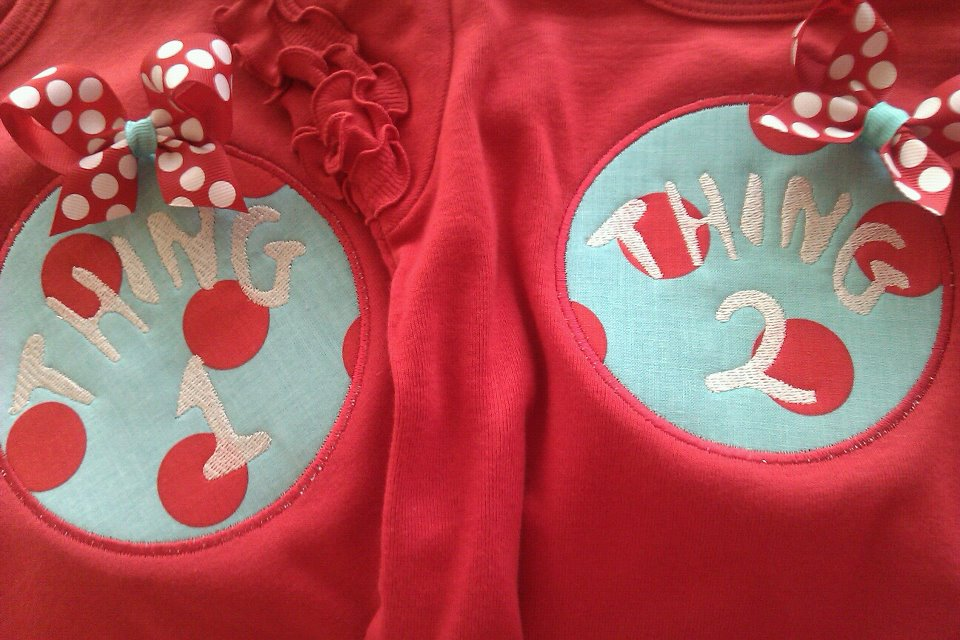 Thing 1 and Thing 2 Tees - Set-