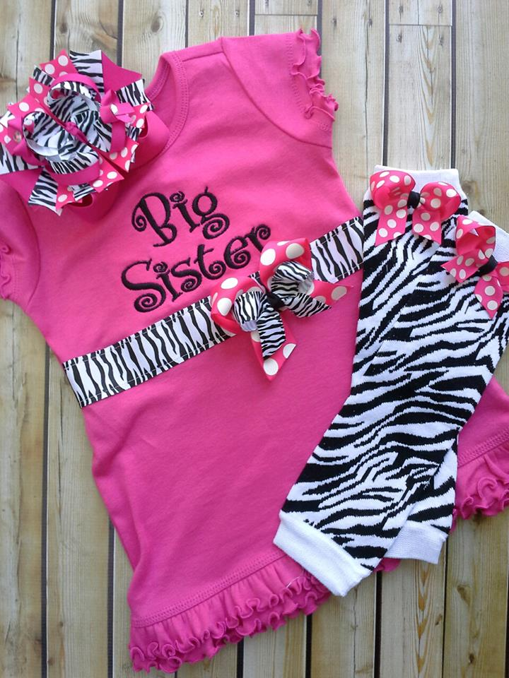 Zebra Big Sister Ribbon Dress-Big Sister