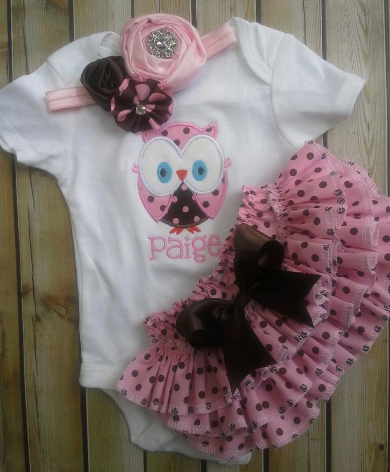 Pink and Brown Ruffled Owl Set-