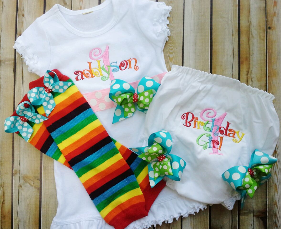 Rainbow Ribbon Dress & Bloomers Set-