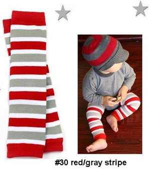 BOYS red and grey legwarmers-