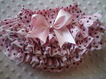 Pink Polka Dot Ruffled Bloomers-Pink Ruffled Bloomers