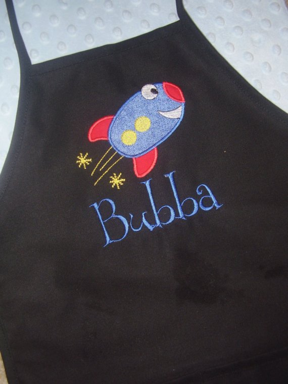 Rocket Ship Applique Toddler Apron-apron, toddler apron, applique, personalized