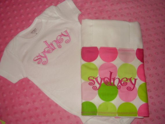 Personalized Girl Set-Onesie, burp cloth