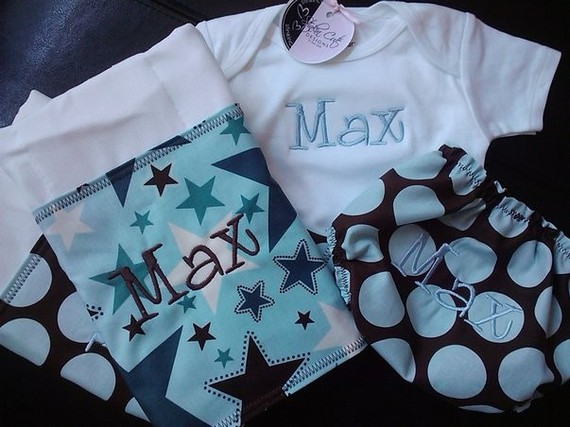 Personalized Boy Gift Set-gift set, onesie, burp cloths, diaper cover