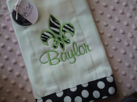 Personalized Fleur De Lis Burp Cloth-burp cloth, personalized