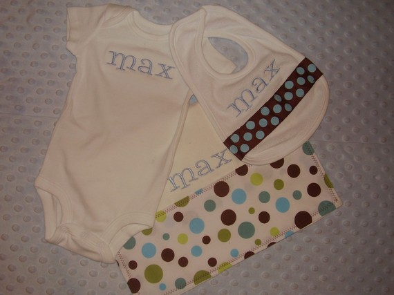 Blue and Brown Baby Boy Gift Set-onesie, bib, burp cloth, personalized