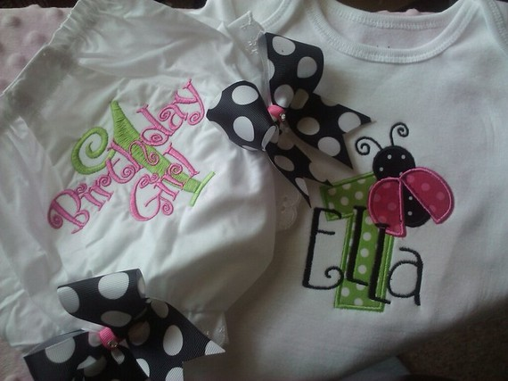 Ladybug Birthday Tee and Bloomer Set-bloomer, tee, ladybug