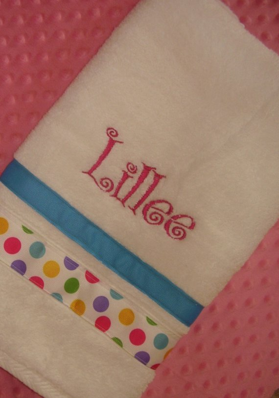 Polka Dot Personalized Hand Towel-hand towel, personalized
