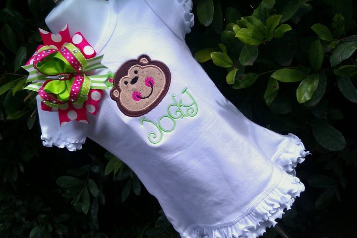Monkey Dress-dress, monkey, applique